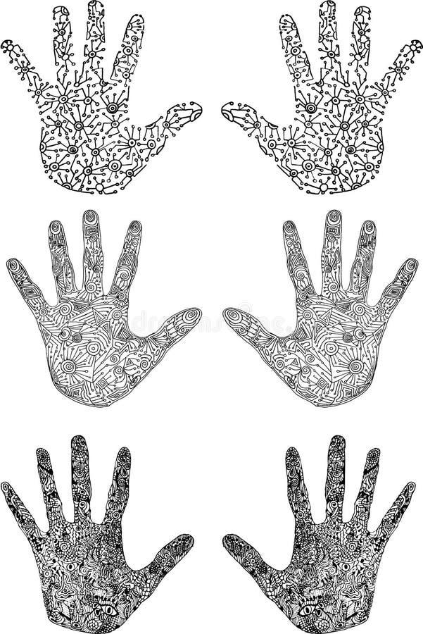 Vector reeks uniqe hand-drawn handen stock illustratie