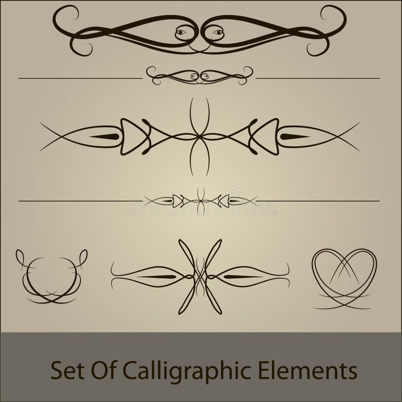 Vector reeks van calliggraphic stock afbeelding