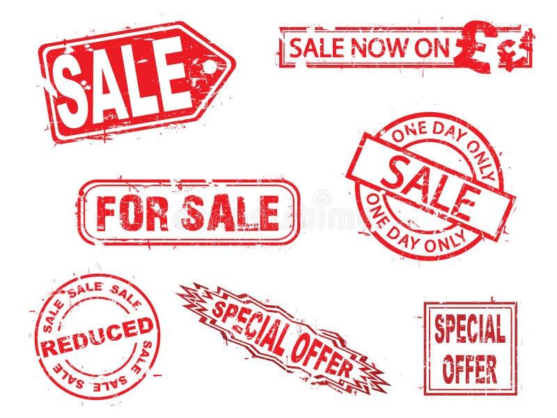 Vector, reeks van verkoop de rubberzegels stock illustratie