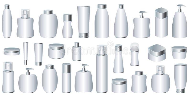 Vector reeks zilveren kosmetische pakketten stock afbeeldingen