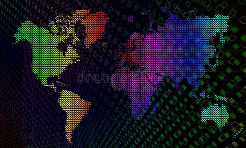 Vector regenbogenKaart van de wereld. stock illustratie