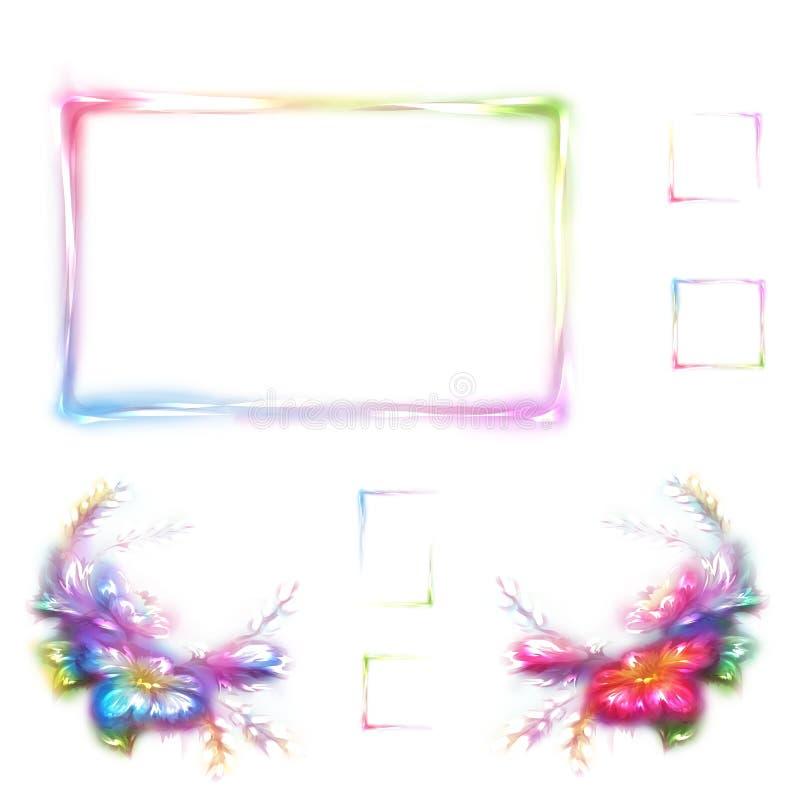 Vector Regenbogenrahmen mit Blume in der Ecke auf weißem Hintergrund lizenzfreie abbildung