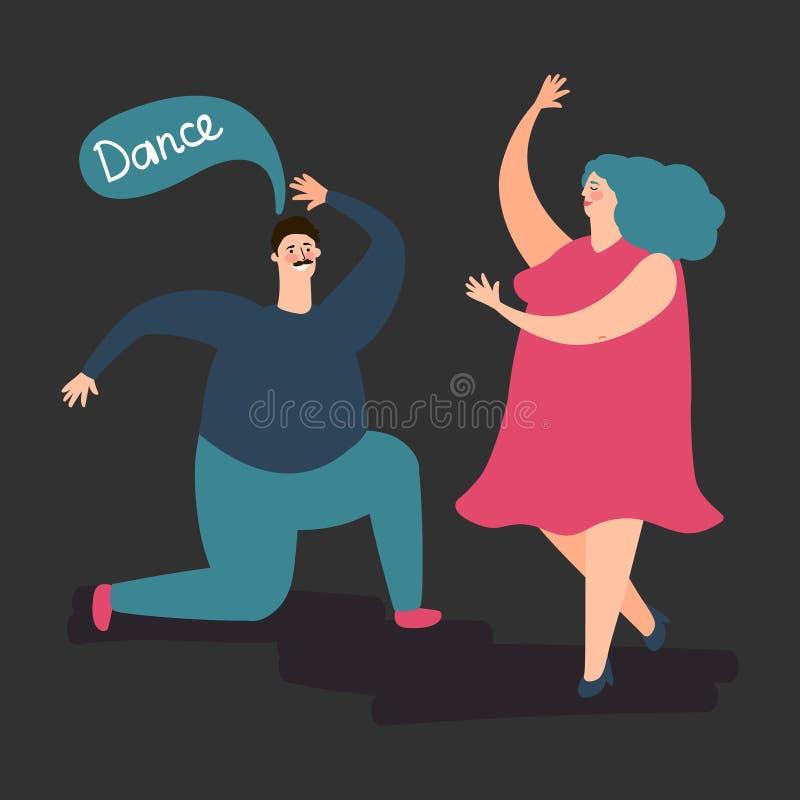 Vector regordete feliz de la danza de la mujer y del hombre Ejemplo de baile gordo lindo de los pares stock de ilustración