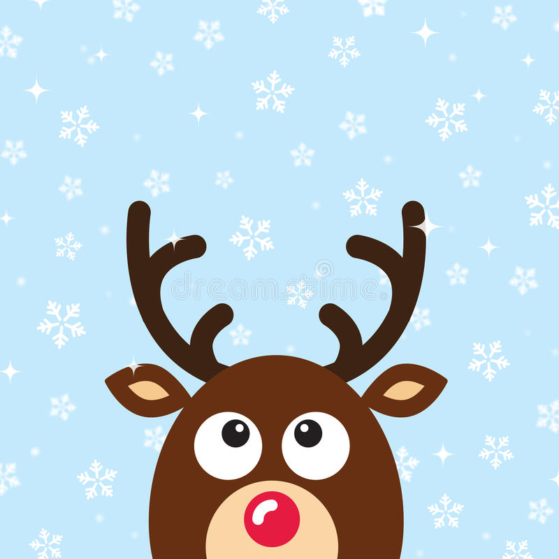 Download Vector Reindeer Christmas Card With Snow Backgroun Stock Photo - Image: 26478260