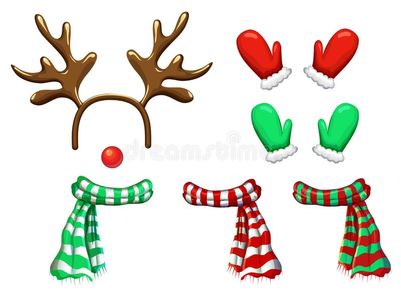 Vector reindeer face template isolated on white. antlers headband red nose scarf and mittens for holiday design. Xmas royalty free illustration