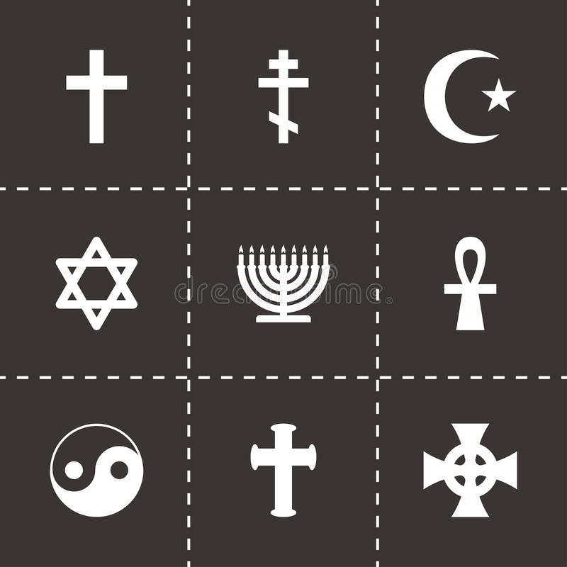 Vector religious symbols icon set royalty free illustration