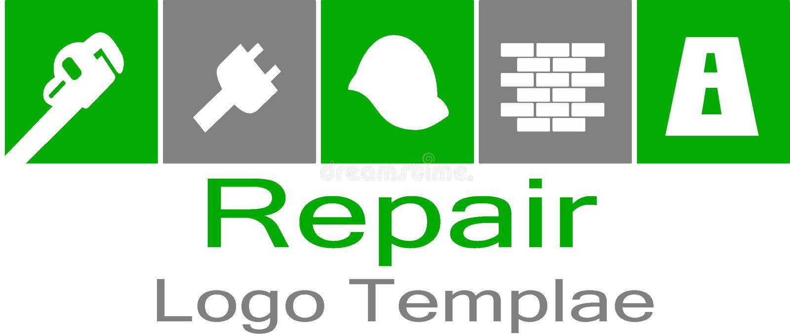 Repair tools and logo template. Vector of repair logo, this is a symbol of a variety of building tools, for you seora repair man logo is perfect for you stock illustration