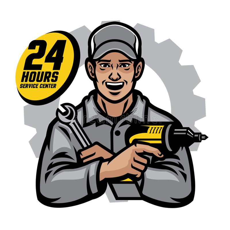 Repair worker smiling holding the wrench and drill royalty free illustration