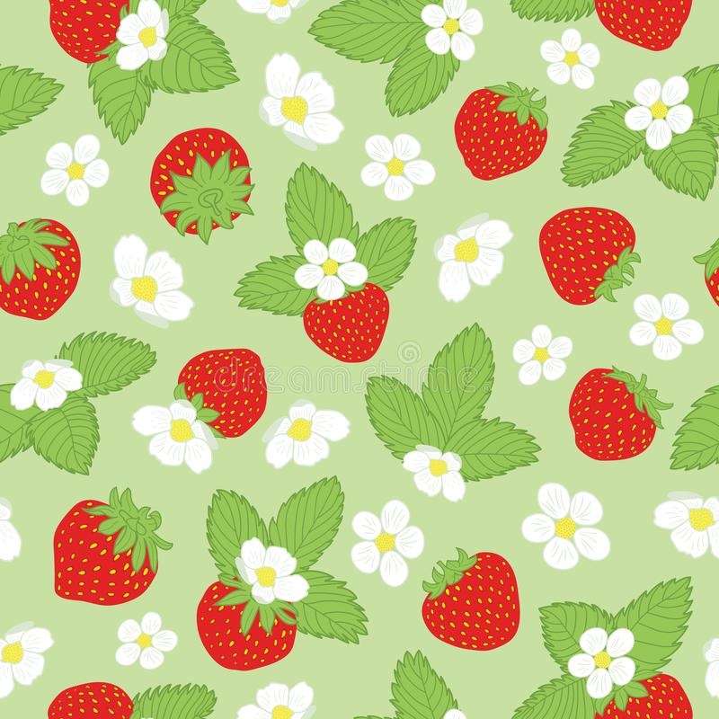 Vector repeat floral print with strawberries and stock illustration