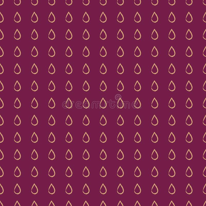Hand drawn vector seamless repeating pattern with raindrop shapes in golden beige and purple royalty free illustration