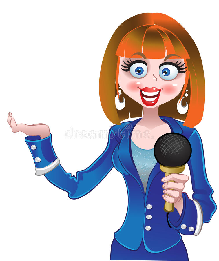 Vector reporter girl in blue suit royalty free illustration
