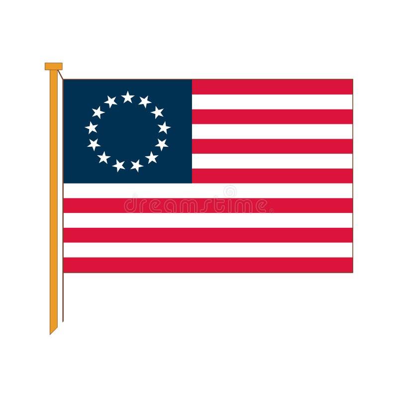 Vector reprodução detalhada do americano oficial Betsy da bandeira ilustração stock