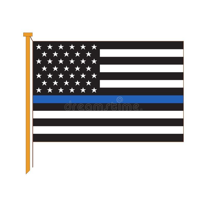 Vector reprodução detalhada do americano oficial Polic da bandeira ilustração royalty free