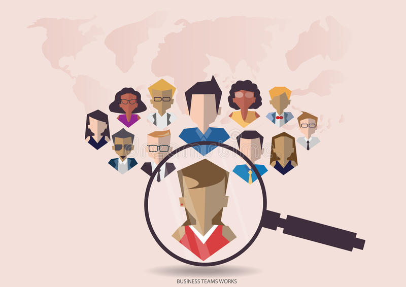 Vector research people for business teams worker with vector world map.Flat design. Research people for business teams worker with vector world map.Flat design stock illustration