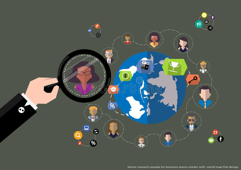 Vector research people for business teams worker with world map flat download vector research people for business teams worker with world map flat design stock vector gumiabroncs Images