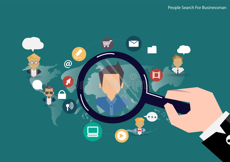 Vector research people concept of human resources management, professional staff research, head hunter job with magnifying glass. royalty free illustration