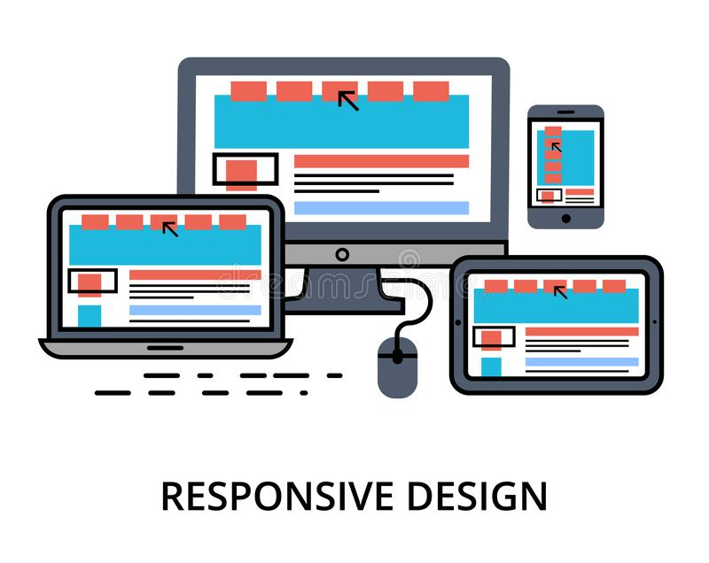 Vector of responsive design. Modern editable flat line vector of responsive design, for web and graphic design stock illustration