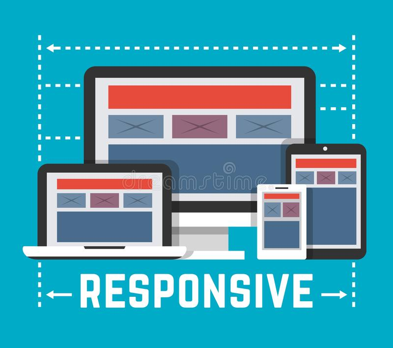 Flat Style Responsive Webdesign Technology Stock Vector: Responsive Web Design Concept Stock Vector