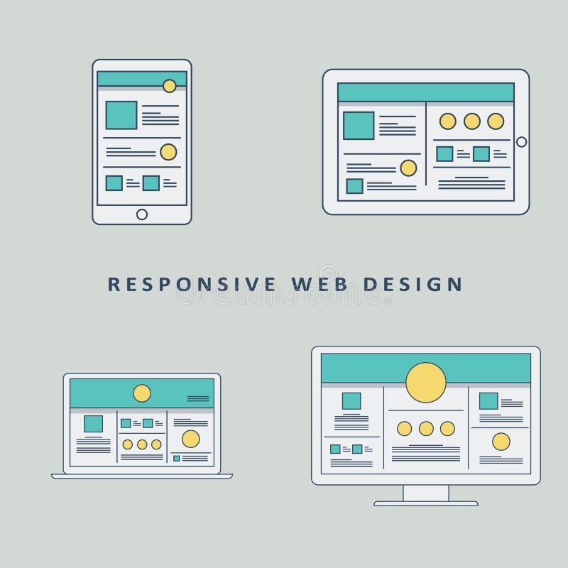 Vector responsivo de la plantilla de la maqueta del diseño web ilustración del vector