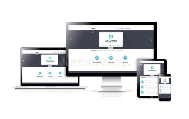 Vector responsivo plano del desarrollo del diseño web concentrado ilustración del vector