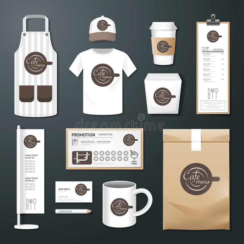 Vector restaurant cafe set flyer, menu, package, t-shirt, cap, uniform design royalty free illustration