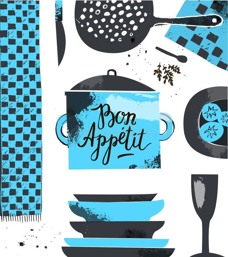 Vector restraurant, шаблон дизайна меню кафа, плакат, карточка Иллюстрация нарисованная рукой современная с kitchenware иллюстрация вектора