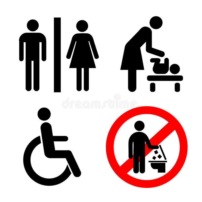 Vector Restroom Icons Lady Man Child And Disability Stock Vector