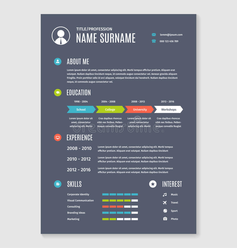 Vector resume cv template a4 letter stock vector illustration of download vector resume cv template a4 letter stock vector illustration of design presentation yelopaper Images