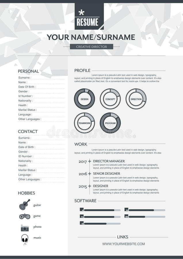 vector resume template stock vector illustration of employment