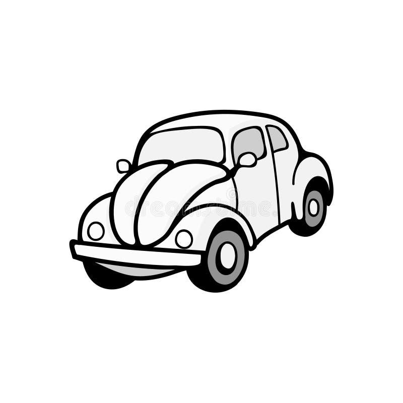 Vector Retro auto die op witte achtergrond wordt geïsoleerd royalty-vrije illustratie