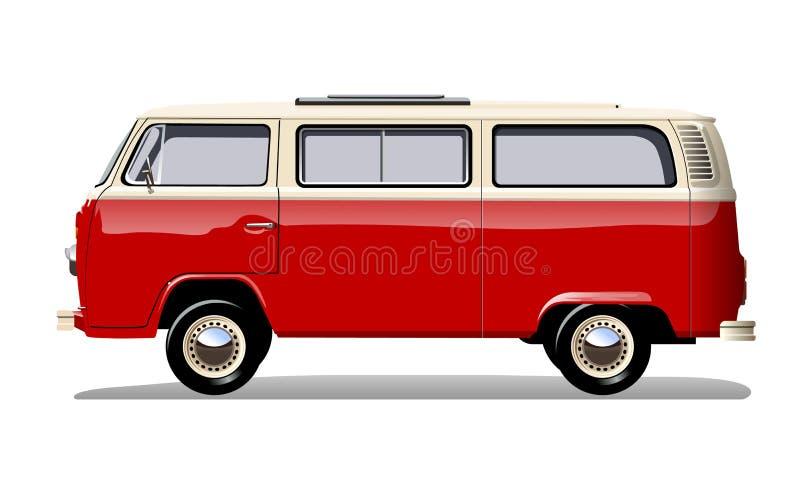 Vector retro bestelwagen royalty-vrije illustratie