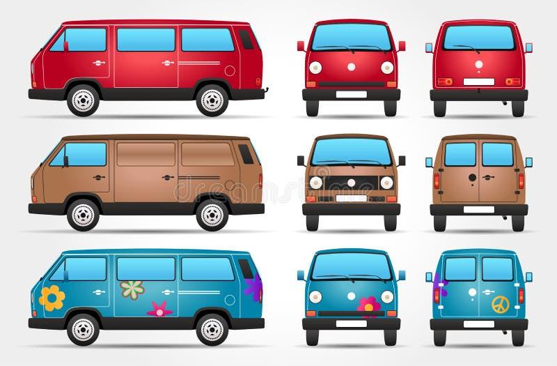 Vector Retro Bestelwagen - Kant - Voorzijde - Achtermening vector illustratie
