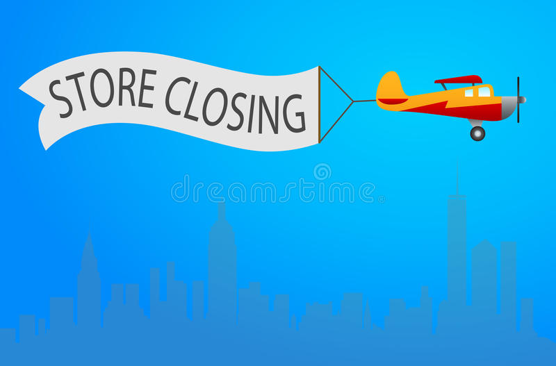 Vector retro biplane with wavy banner for store closing illustration. Template flyer, design element for closing down clearance s stock illustration