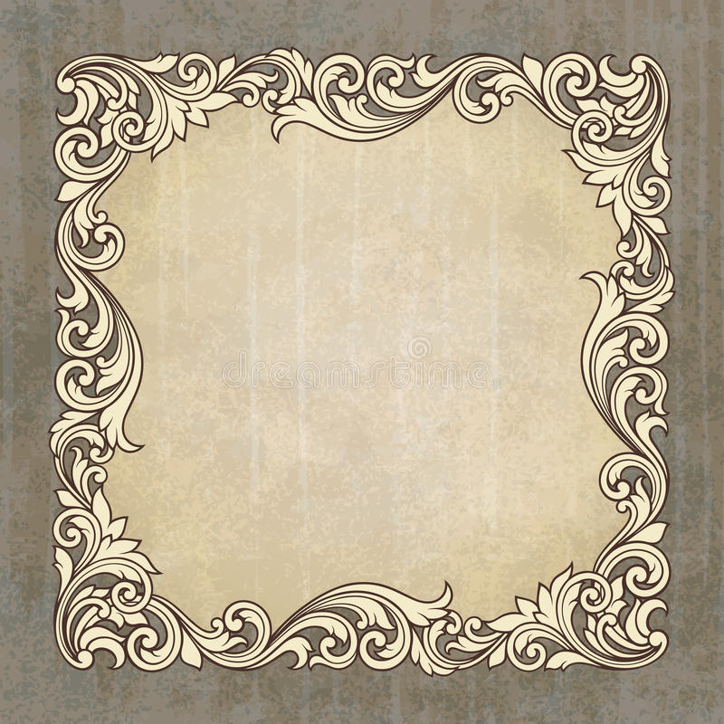 Vector retro border frame at grunge background royalty free illustration