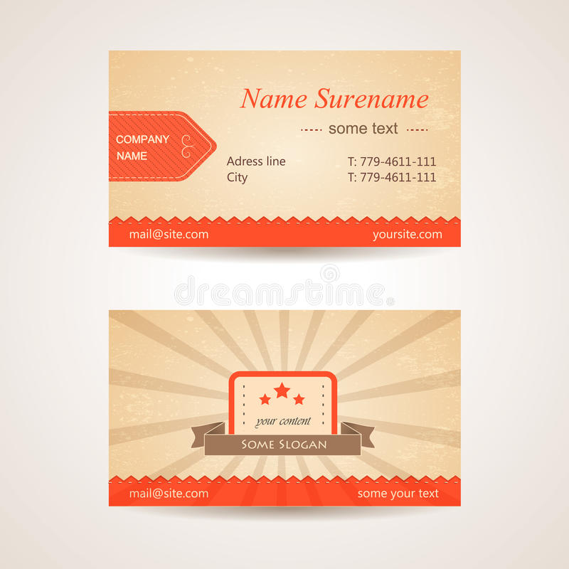 Vector Retro Business Card. Front And Back Side Stock Illustration ...