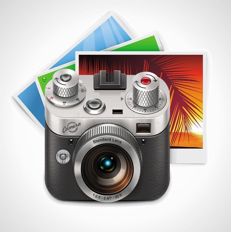 Vector retro camera and photos XXL icon vector illustration