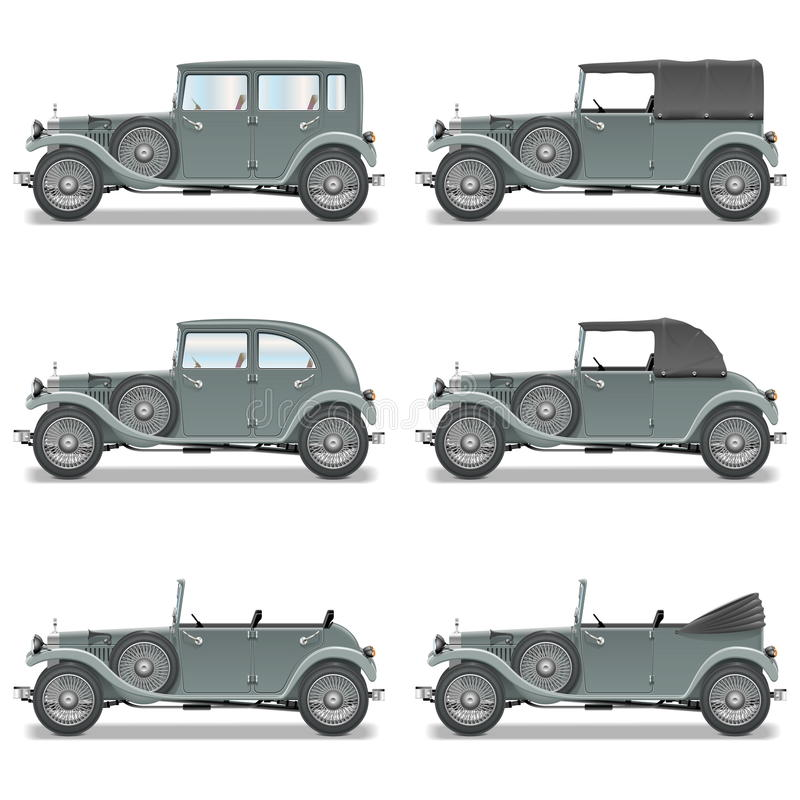 Vector Retro Cars. On white background royalty free illustration