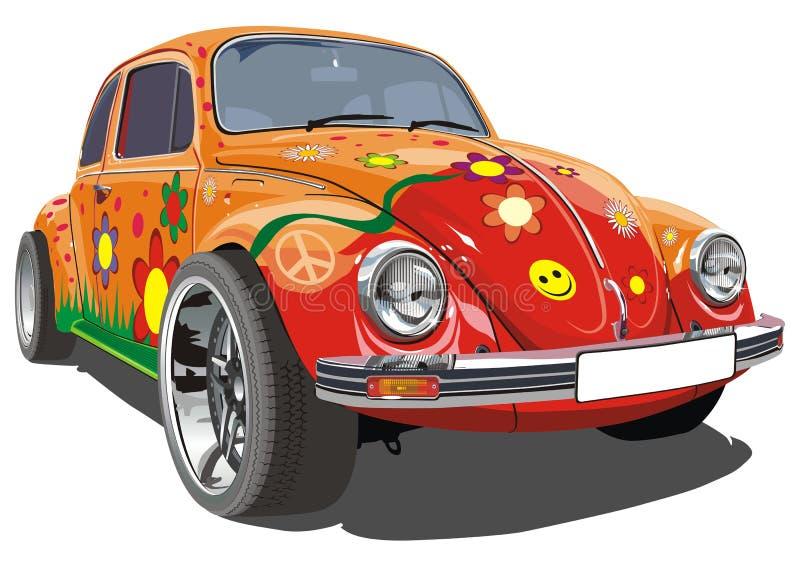 Vector retro cartoon car royalty free illustration
