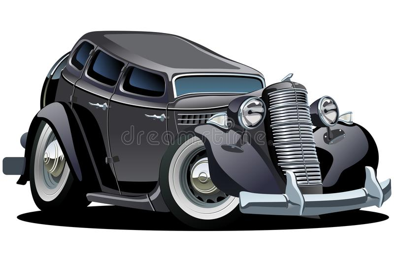 Vector retro cartoon car. Available ai-10 format separated by groups for easy edit vector illustration