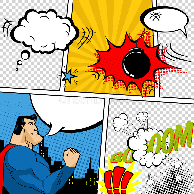 Vector Retro Comic Book Speech Bubbles Illustration. Mock-up of Comic Book Page with place for Text, Speech Bubbls, Symbols, Sound stock illustration
