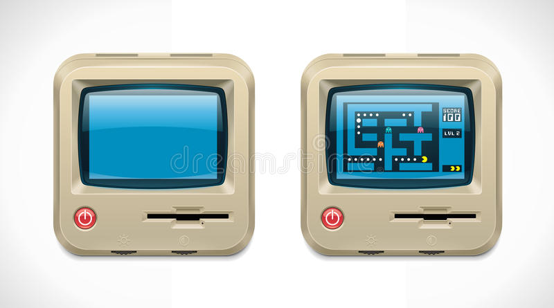 Vector retro computer square XXL icon vector illustration