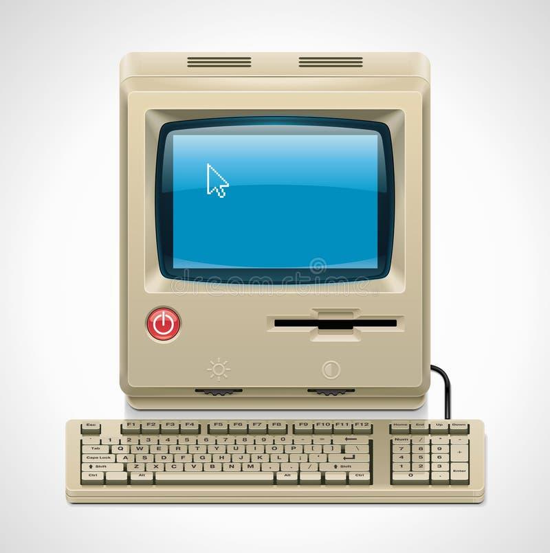 Vector retro computer XXL icon vector illustration