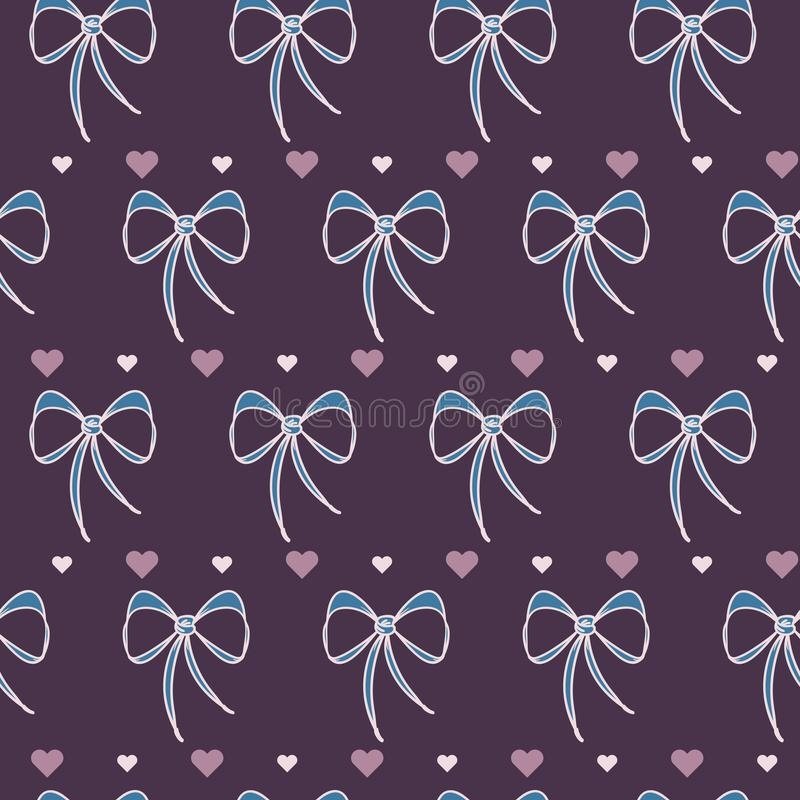 Vector Retro Cute Lace Bows with Hearts seamless pattern background. vector illustration