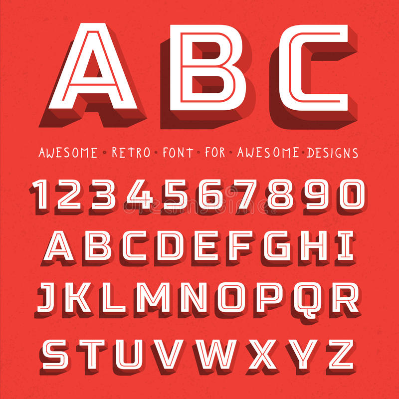 Vector Retro 3D Font with shadow royalty free illustration