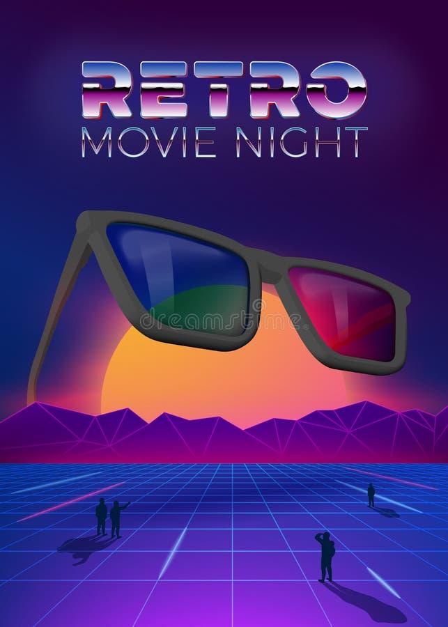 Vector retro de afficheontwerpsjabloon van de filmnacht vector illustratie
