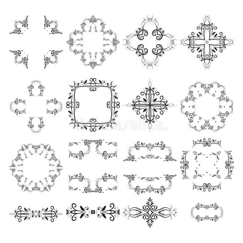 Vector retro de grens klassieke uitstekende elementen van de kaderverdeler royalty-vrije illustratie