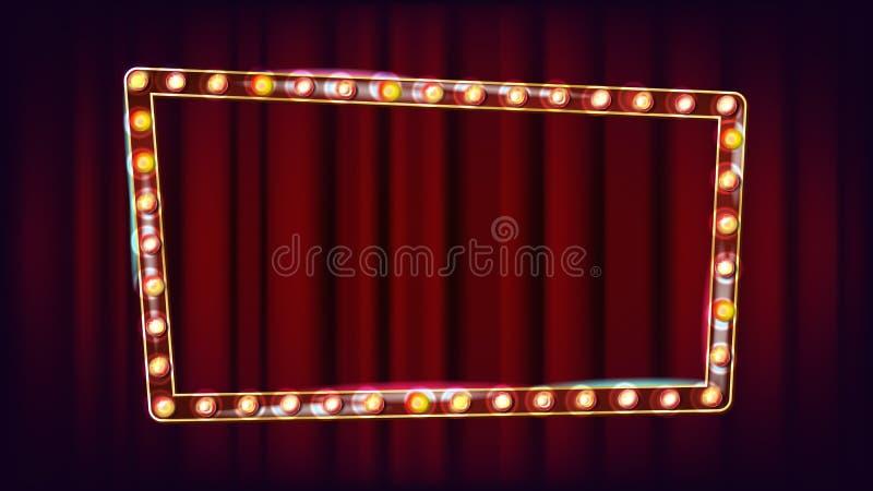 Vector retro de la cartelera Tablero ligero brillante de la muestra Luz de neón iluminada de oro del vintage Carnaval, circo, est libre illustration