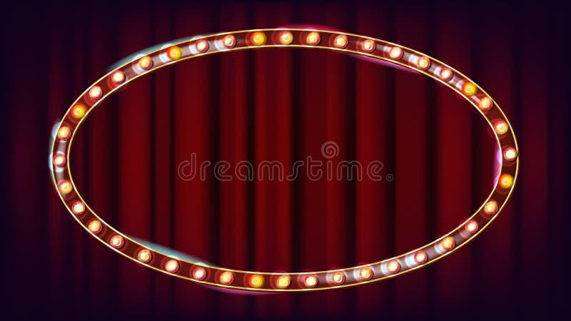 Vector retro de la cartelera Tablero ligero brillante de la muestra Marco realista de la lámpara del brillo Carnaval, circo, esti stock de ilustración