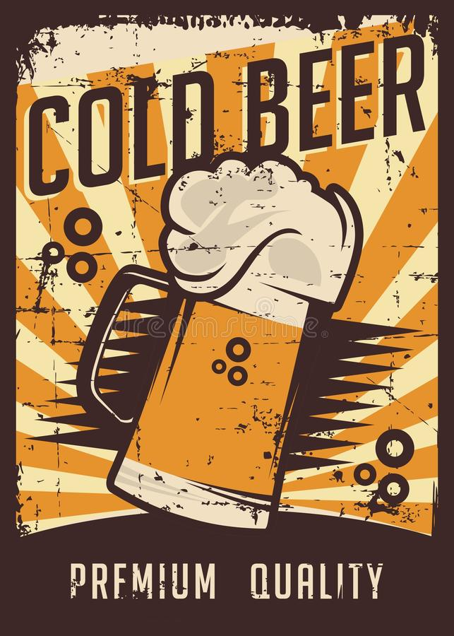 Vector retro de la señalización del vintage de la cerveza fría stock de ilustración