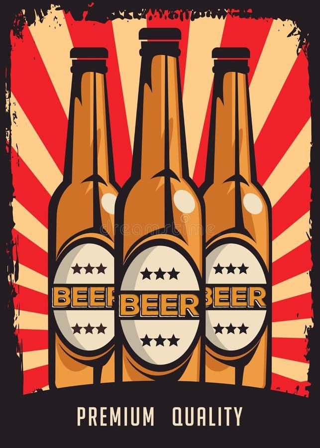 Vector retro de la señalización del vintage de la cerveza fría ilustración del vector